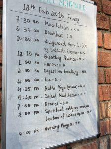 ashram schedule