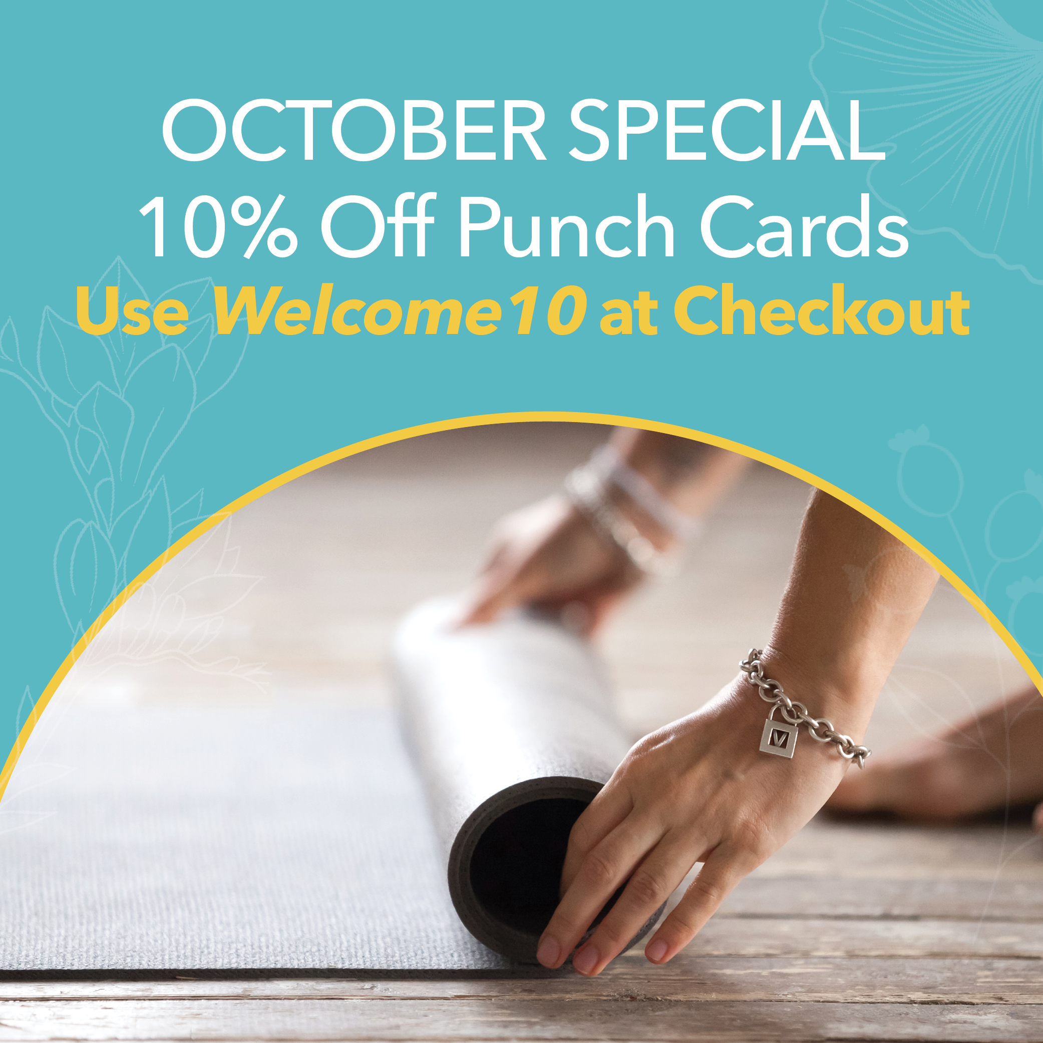 Yoga North ISYI October 10% Off Punch Cards Graphic